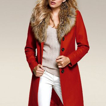 Faux-Fur Collar Coat