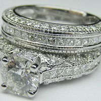 Engagement Ring - Vintage Three Side Pave Engagement Ring &amp; Matching Wedding Ring in 14K White Gold - ES927BRBSWG
