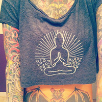 Yoga Loose Crop Top - Almost Black - Sitting Buddha