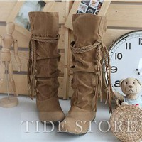 Honey Suede Closed-toes Boots Women Shoes: tidestore.com