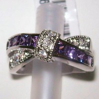 Size 8 Love Knot Amethyst CZ Ring from TORNADO'S TREASURES