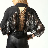 Tia All Over Skull Print Fringe Back Batwing Blouse