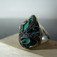 Vintage Silver Ring with Marcasite Cage by FourSailAccessories