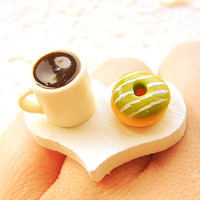Food Ring  Coffee  Matcha Donut Miniature Food Jewelry