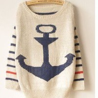 BB01 Military style anchor mohair sweet stripes bat shirt sweater  from Fashion4you