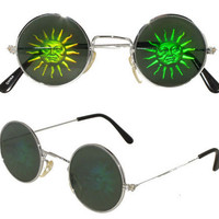 90s SUNSHINE Grunge Hologram Vintage Deadstock Round Lennon Sunglasses
