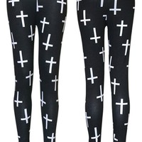 New Womens Cross Print F...