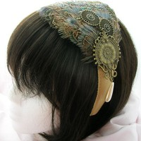 Steampunk feather fascinator  Ozion design BROWN by Pegasusmaiden