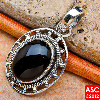 "BLACK ONYX 925 STERLING SILVER PENDANT 1 1/8"" JEWELRY"