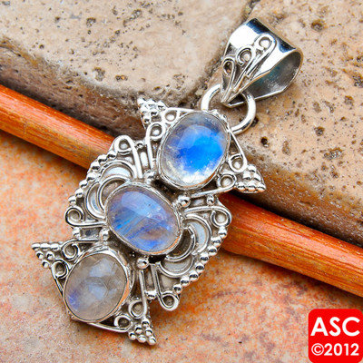 "RAINBOW MOONSTONE 925 STERLING SILVER PENDANT 1 1/2"" JEWELRY"