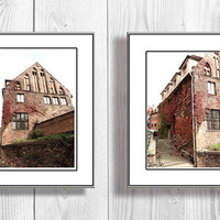 Architectural photography red  Brick House with Ivy  wall art  architecture Industrial home decor Set of Two 4x6 Fine Art Photography Prints