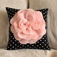 Pink Rose On Black and White Polka Dot Pillow 12 x 12 by bedbuggs