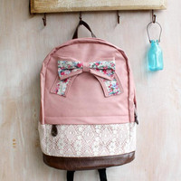Fashion Cream Backpack with Red Floral Bow &amp; Lace