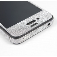 Nice Silver Shiny Rhinestone Full Body Cover Skin Sticker Shield For iPhone 4S/5