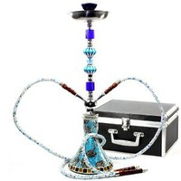 "Amazon.com: Never Exhale(TM) 26"" Premium Double Hose Glass Vase Mosaic Hookah (Blue): Health & Personal Care"