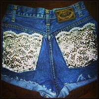 Leopard print and lace high waisted shorts  by AngeliqueMerici