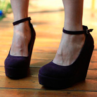 Womens Wedge Platform Round Toe Ankle Strap High Heels Classic Pumps Shoe