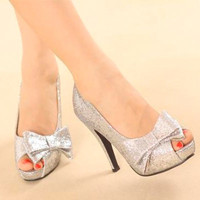 Women Waterproof Open Toe Solids Sandals High-heels Bow-knot Shoes