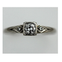 Antique 14 kt White Gold Old European Cut Diamond Engagement Ring Circa 1920&#x27;s