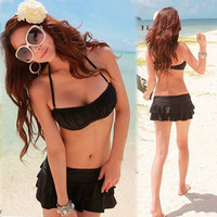 Korea Girls Halter Bandeau Bikini Ruffles 3 Pieces Black Swimwear