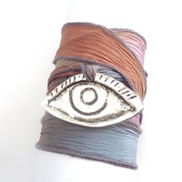 Boho Chic Silk Ribbon Wrap Bracelet with Evil Eye by charmeddesign1012