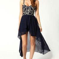 Lottie Multicoloured Lace Top Chiffon Mixi Dress