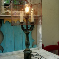 Shabby Chic Rustic Lamp  French Country Home by honeystreasures