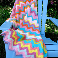 Vintage Wool Zig Zag Throw in Gorgeous Colors Pastels Brights Pinks, Blues, More