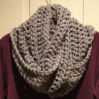 Crochet Infinity Scarf Cowl Heather Gray Warm Acrylic