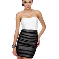 Sultry Strapless Dress - Color Block Dress - Black Dress - White Dress - &amp;#36;36.50