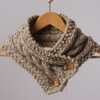Downtown Kansas City Wheat Cable Cowl w/ Buttons