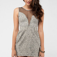 Snow Leopard Mesh Dress in Black :: tobi