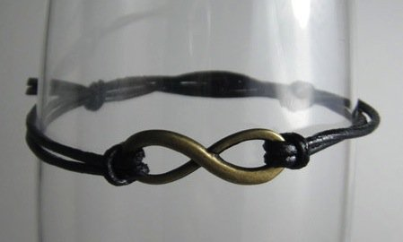 Infinity Bracelet with Black Leather Cord by MaesDesigns on Etsy