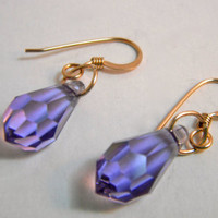 14k Gold Swarovski Violet Crystal Earrings by MaesDesigns on Etsy