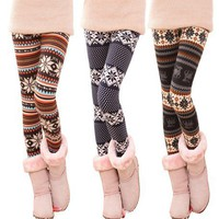 Fashion Stripe With Snowflake Leggings from 1Point99.com