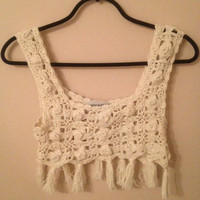 crochet crop top 1960s cream grunge vintage