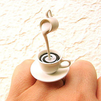 Coffee Ring Floating Miniature Food Ring Coffee With Cream