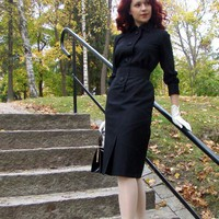 50's reproduction black wool walking dress by CheriseDesign