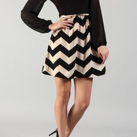 Black & Taupe Chevron Zig Zag Print Chiffon Dress With Skinny Belt