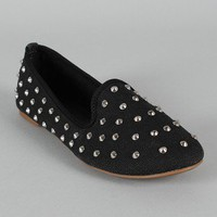 Bamboo Kiwi-01 Studded Spike Round Toe Loafer Flat