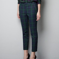TARTAN CROPPED TROUSERS - Trousers - Woman - New collection - ZARA United States