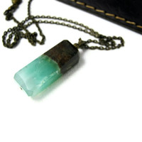 Chrysoprase Necklace Pendant Green Brown by LeafAndTendril on Etsy