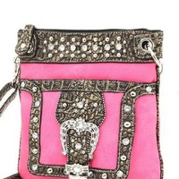 Amazon.com: Hot Pink Western Rhinestone Buckle Crocodile Hipster Cross Body Purse: Clothing