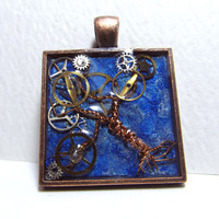 Twinkle Twilight Steampunk Tree of Life Resin Pendant