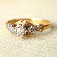 Vintage Diamond Engagement Ring, Victorian Style Diamond Ring, 18k Gold & Platinum Wedding Ring Size US 5.75