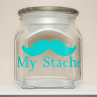 My Stache - SUPER MINI - Mustache Money Jar - Teal/Turquoise