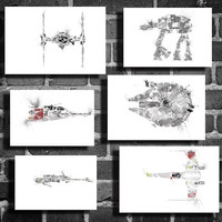 Star Wars Vehicles movie posters All 6 vehicle by Harshness