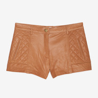 Diamond Quilted Leather Shorts: Caramel- IntermixOnline.com