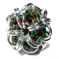 Chainmaille Christmas ornament Ball Red green and by DoBatsEatCats