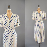 1940s Dress / Polka Dot Dress / 40s